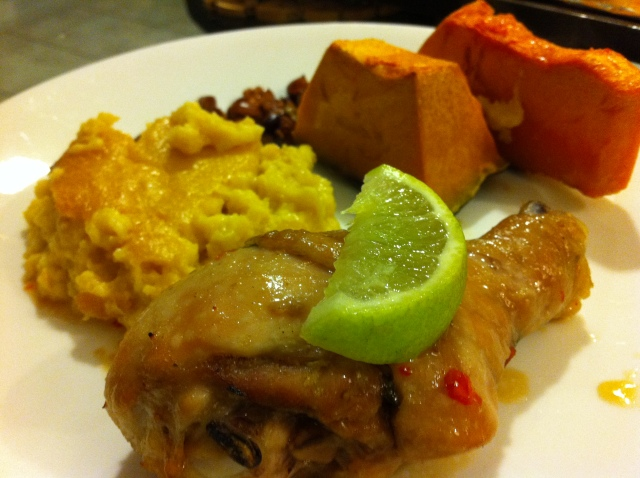 Thai inspired roasted chicken drumsticks, served with Southern creamy corn pudding & roasted pumpkin wedges