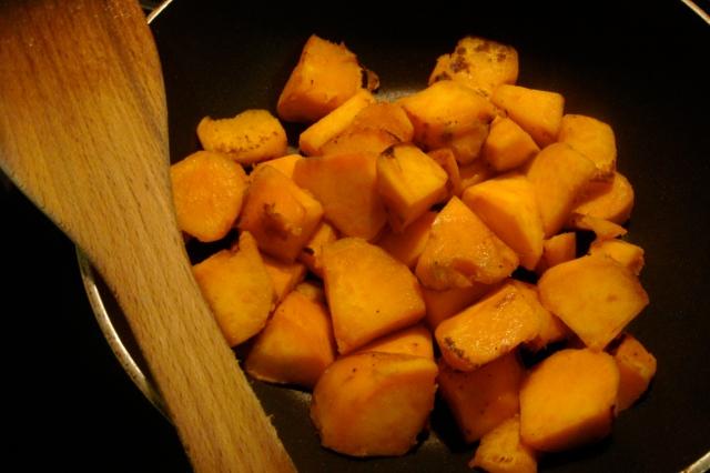 Pan-fried sweet potato cubes