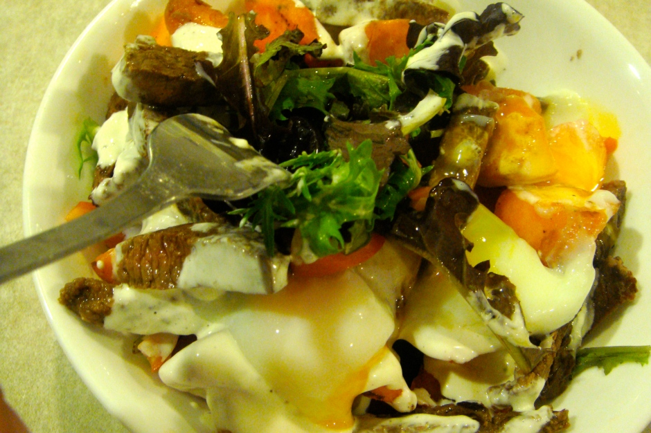 Half and Half Warm Sweet Potato & Steak Salad