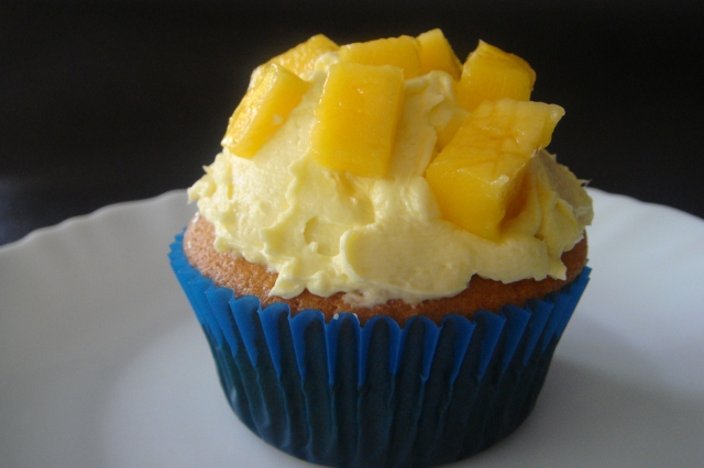 Classic Vanilla Cupcakes with Mango Buttercream Frosting